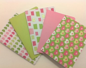 blank note card set:  love of pink and green