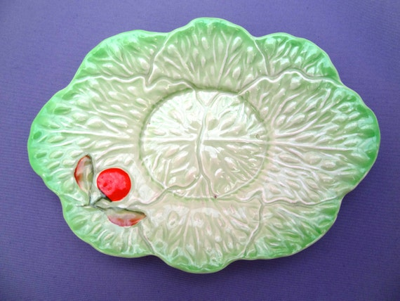 Carlton Ware Plate - Vintage Green and Orange Design - Made In England - Crockery, Pottery and Ceramics