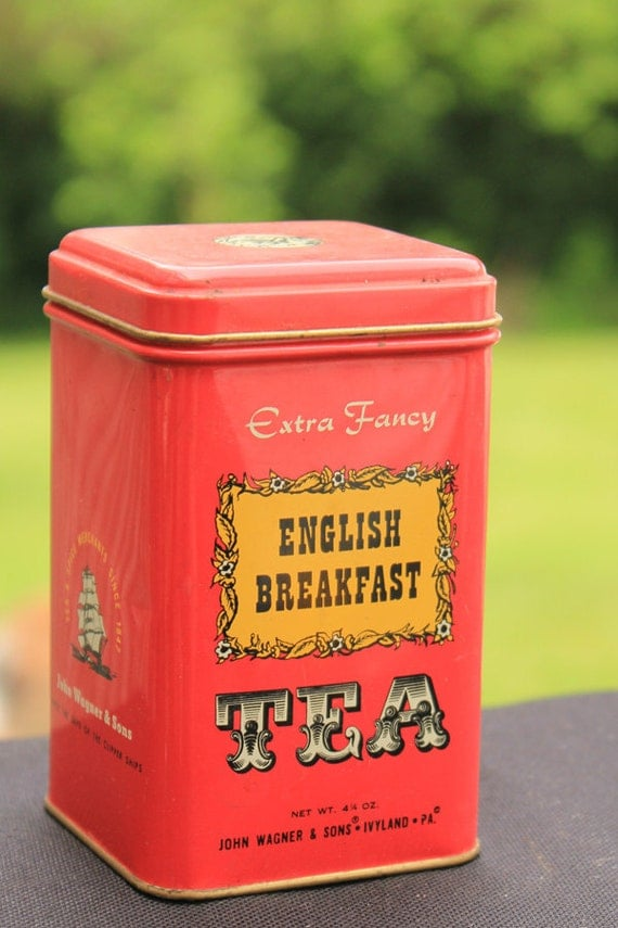 Vintage John Wagner & Sons Tea Tin Red 4.25 oz Extra Fancy English Breakfast Metal Container Decorative Kitchen Collectable