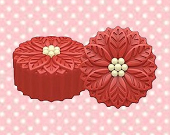 Poinsetta Oreo Cookie Mold-Make your own chocolate covered Oreos with the 6 Cavity Poinsettia Cookie Mold.
