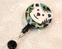 Fun decorative name badge holder, retractable Id,  retractable badge holder with white Tiger