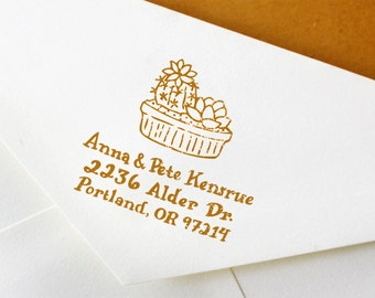 Hand Drawn Custom Wedding Address Stamp: Handmade Succulent Cacti Stamp - Great for Wedding, Snail Mail, and General Correspondence
