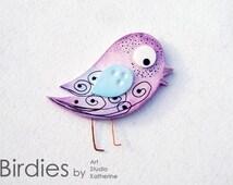 Birdie cute brooch, Silhouette pin, Polymer clay bird, Creative design, Purple love bird, Cute gift for girl, Cool birdie pin, Handmade bird