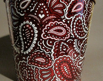 Hand Painted, Red, Black & White Paisley Metal Bucket
