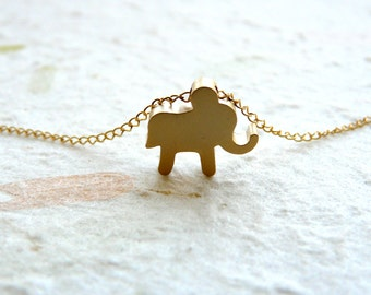 Gold elephant necklace, Tiny elephant necklace, Good luck charm, Animal necklace, Baby elephant necklace, Lucky charm, Kids necklace