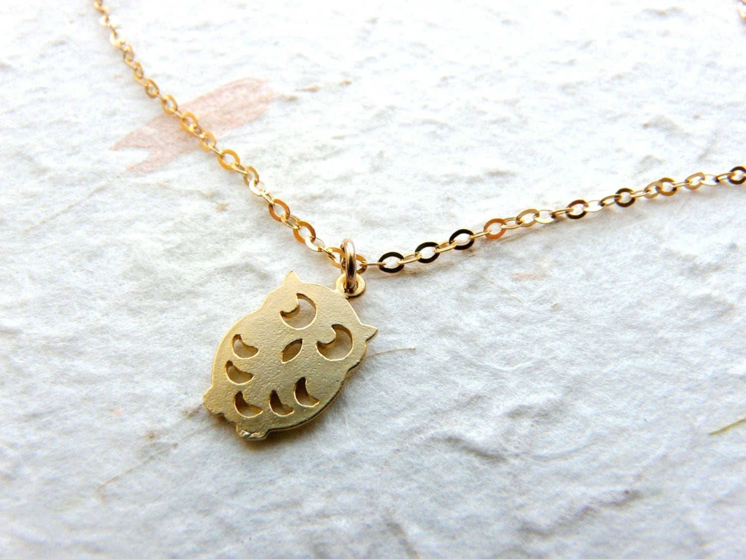 owl necklace gold filled pendant delicate necklace owl