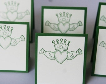 Claddagh Place Cards Set of Twelve, Celtic Wedding Place Cards, St. Patrick's Day Party Place Cards