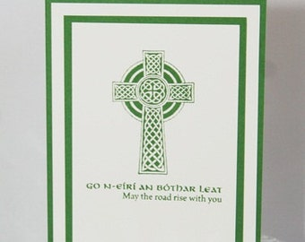 Celtic Cross May The Road Rise Irish Blessing, Hand Made St. Patrick's Day Card, Celtic Greeting Card, Thinking of You Hand Irish Cross Card