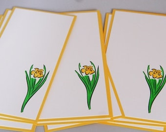Daffodil Note Card Stationery Set of Ten, Hand Made Daffodil Cards, Flower Note Cards, Flower Stationery Set