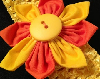 Handmade Fabric Flower Hair Clip with Headband, Orange