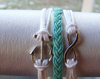 Nautical Anchor Infinity Bracelet