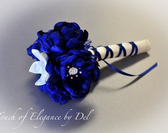 """6"""" Royal Blue and White Fabric Flower Wedding Bouquet"""