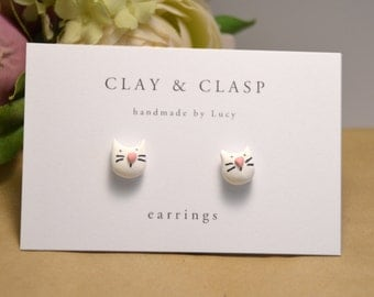 White Cat earrings - beautiful handmade polymer clay jewellery by Clay & Clasp