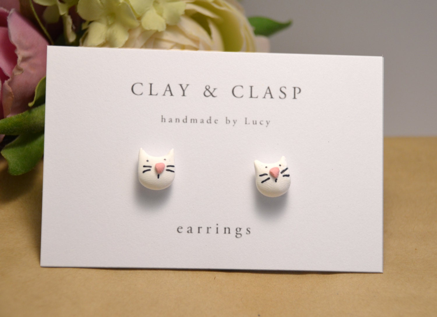 White Cat Earrings  Beautiful Handmade Polymer Clay Jewellery By Clay &  Clasp