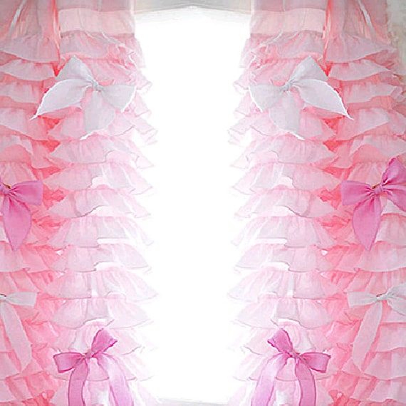 Pink ruffled waterfall curtain panel by lovelydecor on etsy