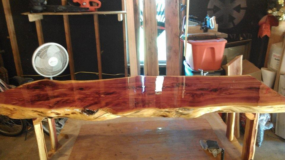 Red cedar live edge coffee table