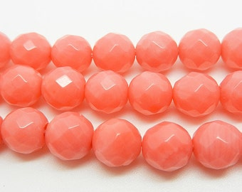 "16""  Pink  Coral   Faceted  Gemstone  Beads  ---- 8mm  6mm"