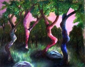 "Dancing Trees Print of Original Oil Painting by Lindsey - ""Dancing Sisters"" - Landscape - Surrealism - Trees - Music"