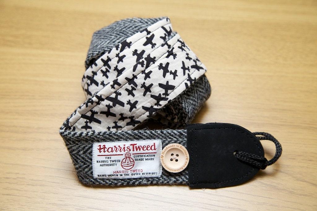 Harris tweed guitar strap handmade to order in by faithmonsoon