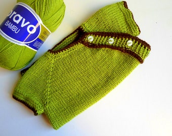 Knit Baby sweater baby outfit green bamboo knit baby vest baby gift baby spring outfit