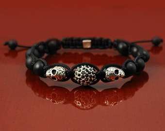 Shamballa style macrame bracelet , black matte onyx - silver skully