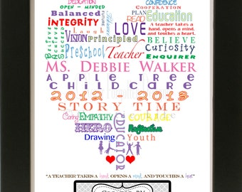 Customized Word Art for Educators / Teachers with Customization - Great Gift for Teacher Appreciation
