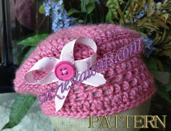 Crochet Baby Hat With Ribbon Pattern : PATTERN PT45 - Crochet Girls Hat with Ribbon, Baby postman ...