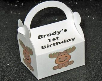 Moose party favor box, moose birthday favor box, moose favor boxes, moose lodge favor box
