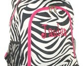Hot Pink Trim Zebra Backpack With Free Embroidery