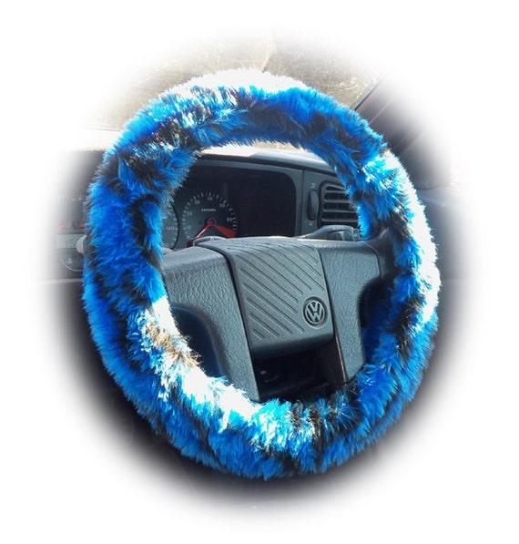 Fuzzy Car Wheel Covers Blue