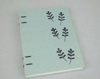 Handmade linen journal ,screen printing,hand printed cover,luckily, blank  notebook ,coptic binding,unique gift