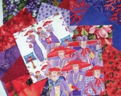 """Red Hat Mix of 34 - 4"""" Cotton Squares"""