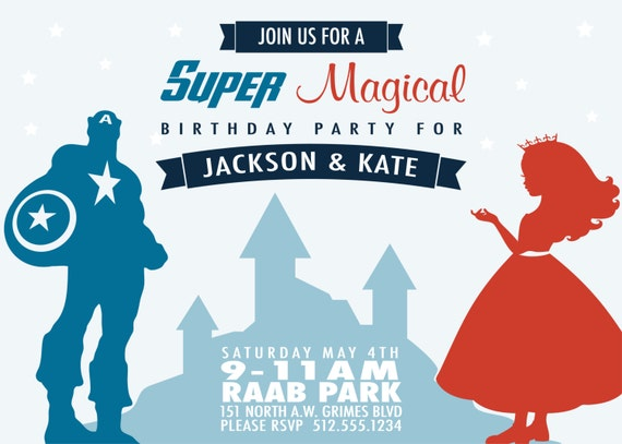 Superhero and Princess Birthday Party Invitation by ...