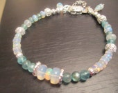 Ethiopian Opal and Blue Apatite Gemstone Bracelet in Sterling Silver
