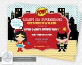 Superhero Boy and Girl Invitation