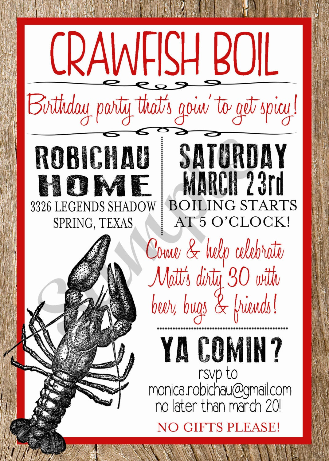 This is a picture of Luscious Crawfish Boil Invitations Free Printable