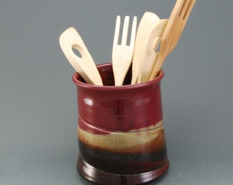 Porcelain Pottery Handmade Spoon Jar Plum Red and Brown
