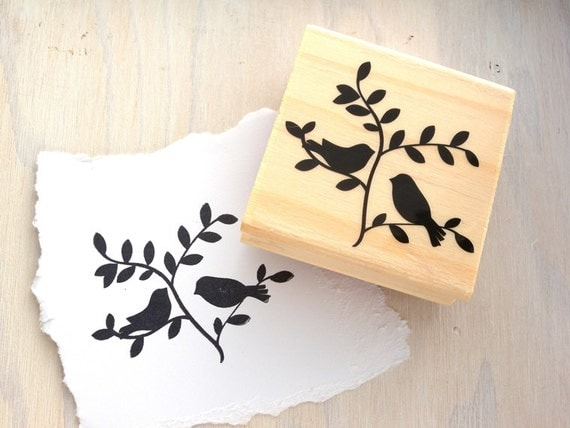 Birds On Tree Branch Rubber Stamp Wood Block By Cyanblueroom