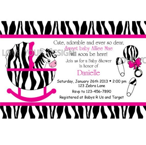 zebra baby shower invitations templates