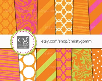 """Printable Digital Paper Pack - 12""""x12"""" - 300 dpi - for scrapbooking, cards, invitations - Dots, Stripes, Designs"""