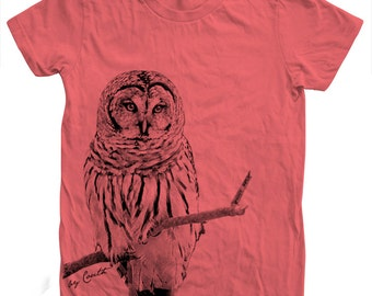 Women OWL Tshirt Custom Hand Screen Print Crew Neck Available: S, M, L, XL