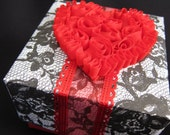 Wedding gift box - handmade - paper - red, black and white - lace - heart - anniversary - unique - steampunk gift box