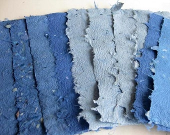 10 Sheets of Handmade Paper Nature Jeans Blue 3