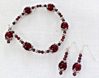 Garnet Bracelet / Garnet Earrings - January Birthstone