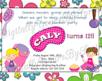 Printable Girls Slumber Party Invitation - You Print DIGITAL FILE