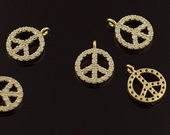 3095051 / Peace Symbol / 16k Gold Plated Brass with Cubic Zirconia Pendant 9mm Diameter / 0.5g / 2pcs