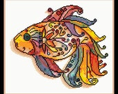 The Mosaic Fish - Counted Cross Stitch and Needle Point Chart Pattern