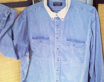 Contrast collar long sleeve denim shirt size 2XLT big and tall
