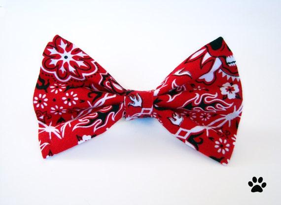 black and white bandana skulls cat bow tie bow by