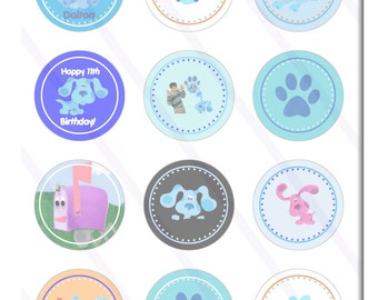 Blues Clues Custom Birthday Party 2 inch Cupcake Toppers digital Printables Party Favor Circles